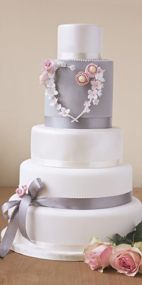Grey and white wedding cake