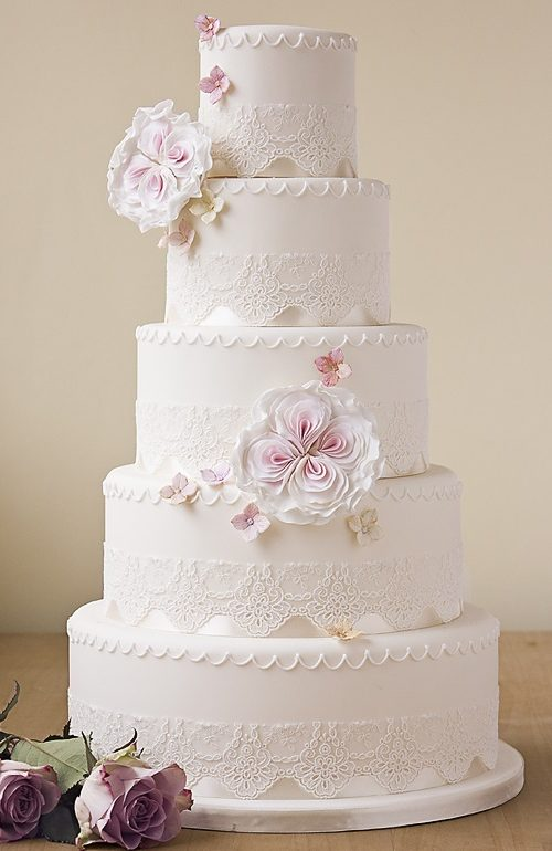 large ivory wedding cake