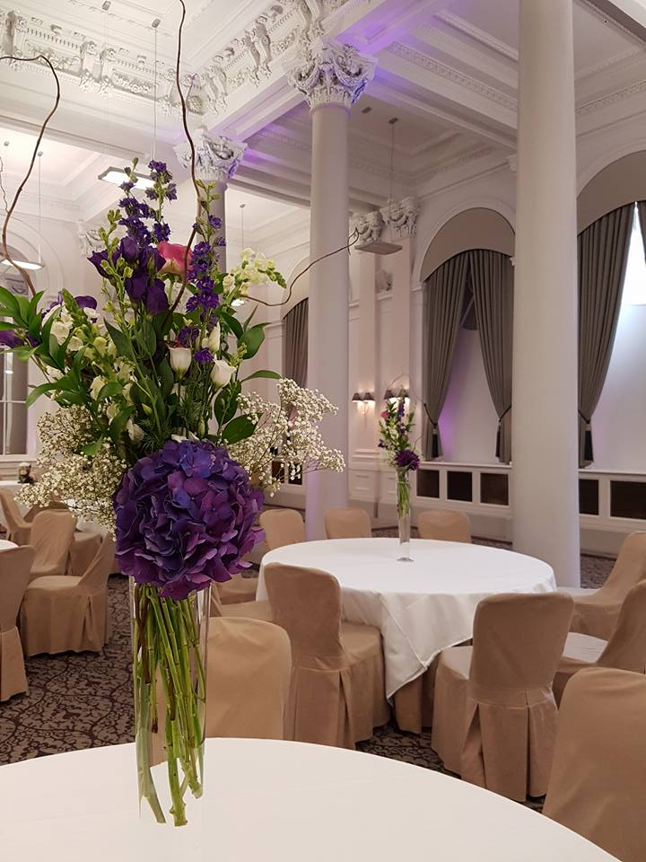 Purple table centres Edinburgh