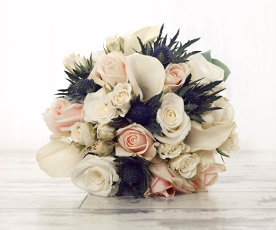 rose and thistle bridal bouquet