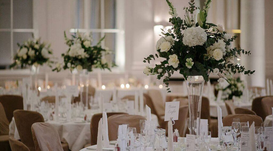 white wedding table setting
