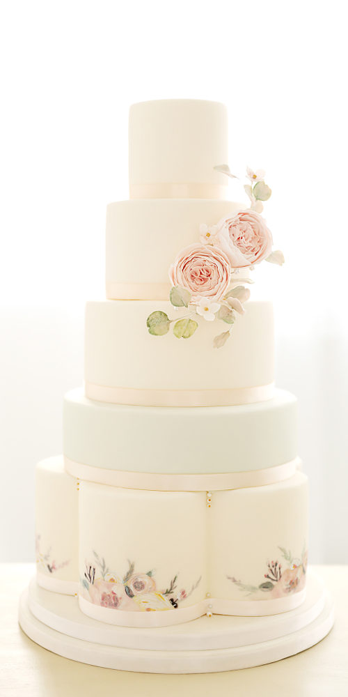Floral Five Tier Wedding Cake