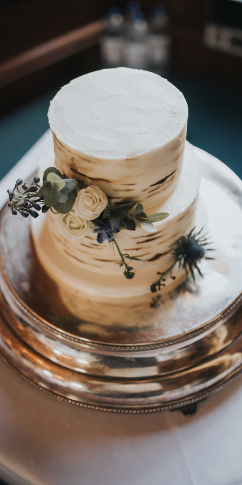 Thistle & Floral Wedding Cake
