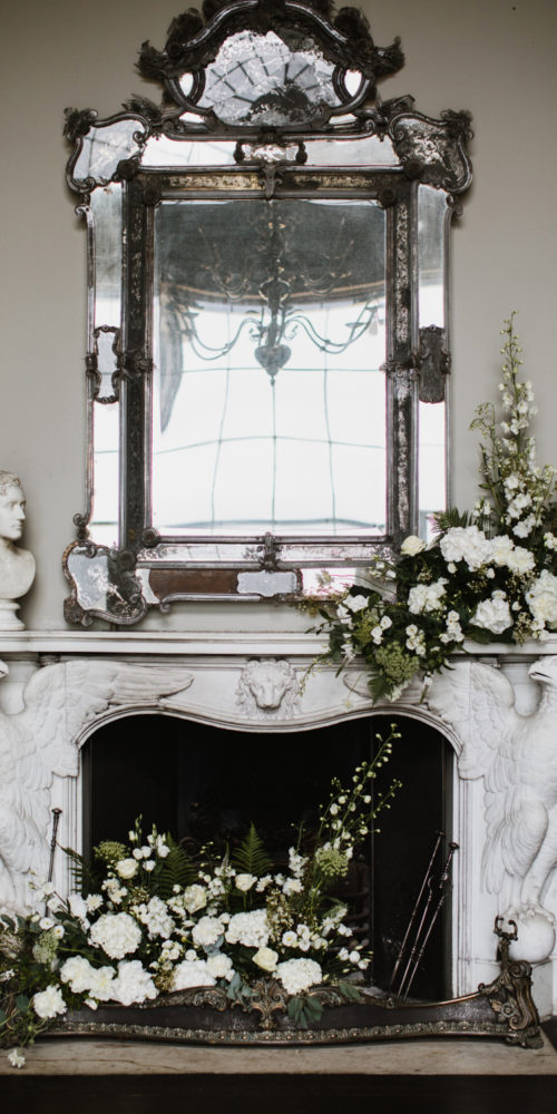 Fireplace White Wedding Flowers Display