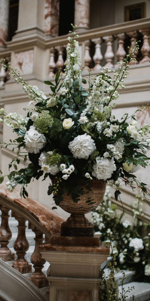 Staircase White Wedding Flowers