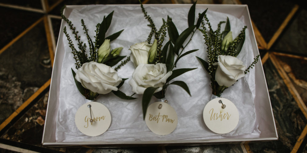 White Flower Wedding Buttonholes