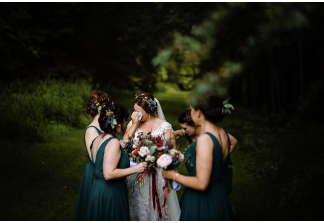 Bridesmaids and Bride Tearful Moment