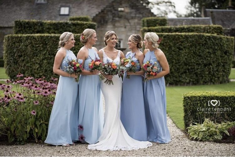 bride, bridesmaids & bouquets